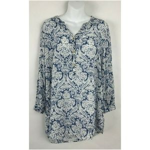 Anthropologie Grand and Greene Popover Blue Floral